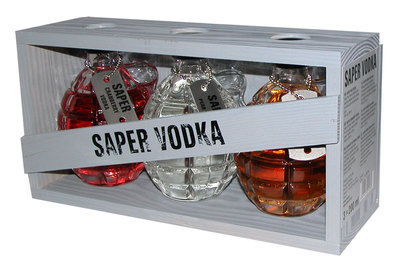"Wodka  ""Saper"" Granata Set: 3St x 0,2L 40% Red Army"